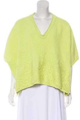 Ermanno Scervino Lace-Trimmed Dolman Sweater Chartreuse Lace-Trimmed Dolman Sweater