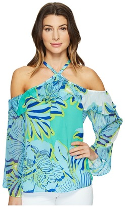 Hale Bob - Hot Topics Cold Washed Silk Georgette Shoulder Top Women's Clothing $215 thestylecure.com