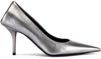 Balenciaga Square Knife Metallic Pumps in Silver | FWRD