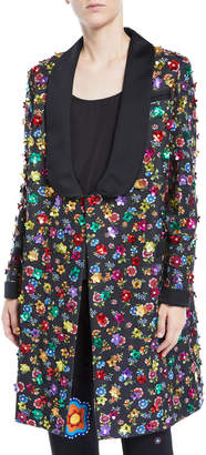 Moschino Floral Embellished Coat w/ Removable Waist Sash