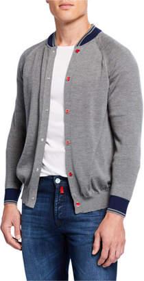 Kiton Men's Cashmere-Silk Knit Varsity Jacket