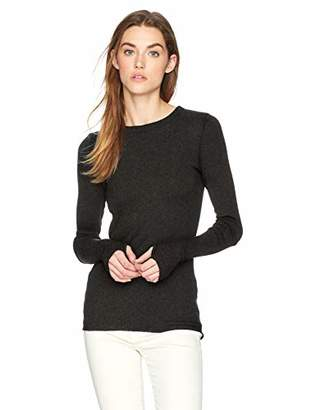 Enza Costa Women's Cashmere Thermal Cuffed Crew Top,XS