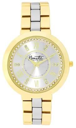 Nanette Lepore NANETTE Women's Wind-Up Two-Tone Crystal Bracelet Watch, 38mm