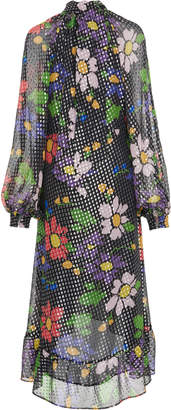 DoDo Bar Or Barbara Ruffled Floral Lurex Midi Dress