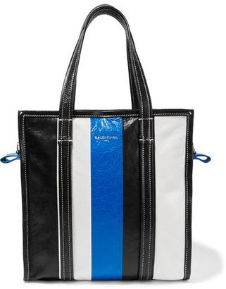 Balenciaga - Bazar Striped Textured-leather Tote - Black $1,495 thestylecure.com