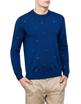 Paul Smith Tonal Paint Splatter Embroidered Crewneck Knit