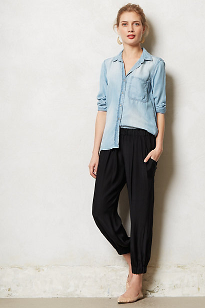 Anthropologie Cinched Silk Trousers