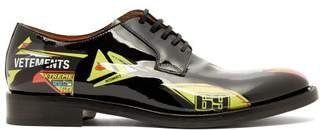 Vetements Race Leather Derby Shoes - Mens - Black Yellow