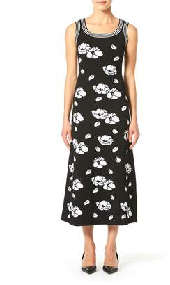Carolina Herrera Sleeveless Square-Neck Floral Dress