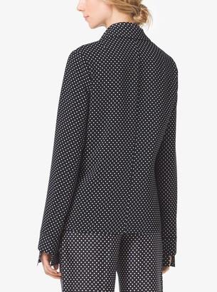 Michael Kors Polka-Dot Techno-Cady Pajama Shirt