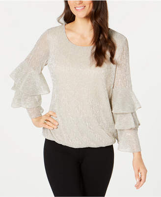 Alfani Metallic Layer Sleeve Blouse