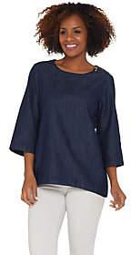 Martha Stewart Denim 3/4 Sleeve Top with ZipperDetail