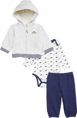 Little Me Dino Hoodie, Bodysuit & Pants Set