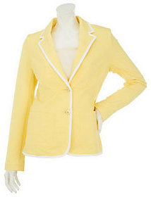 As Is Isaac Mizrahi Live! Tipped Trim Knit Blazer