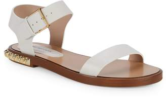Stuart Weitzman Rosewood Embellished Leather Flat Sandals