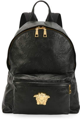 Versace Men's Embossed Leather Medusa Backpack