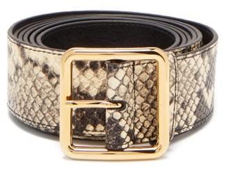 Alexander McQueen Extra Long Python Effect Leather Belt - Womens - Grey Multi
