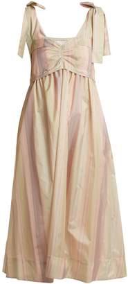 See by Chloe Sweetheart-neck striped taffeta dress