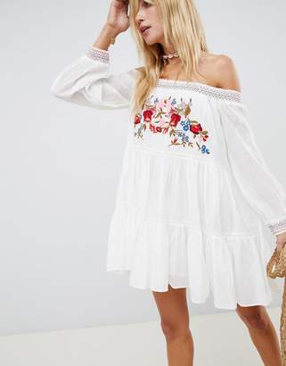 Free People Sunbeams Embroidered Off Shoulder Dress