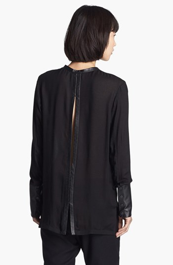 Helmut Lang Leather Cuff Blouse