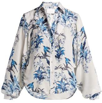 Johanna Ortiz Azalea Floral Print Silk Shirt - Womens - White Multi