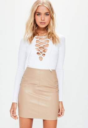 Missguided Faux Leather Mini Skirt Tan, Brown