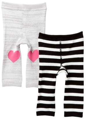 Cuddl Duds Solid & Stripes Cuddl Pants - Pack of 2 (Baby Girls)