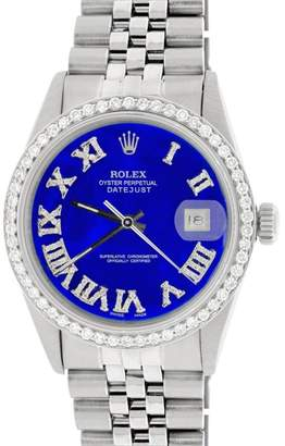 Rolex Datejust Steel Jubilee Royal Blue Roman Dial & Diamond Bezel 36mm Watch