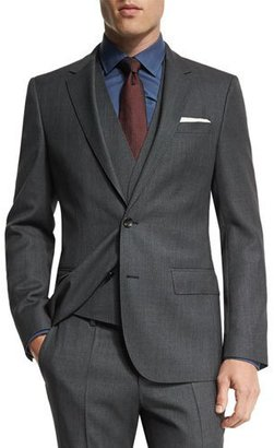 Boss Hugo Boss Huge Genius Slim Birdseye Three-Piece Suit, Charcoal $1,045 thestylecure.com