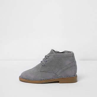 River Island Mini boys grey faux suede desert boots