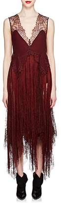 Givenchy Women's Silk & Lace Fringed Slipdress - Wine