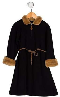 Il Gufo Girls' Faux Fur-Trimmed Dress