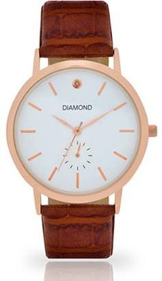 Generic Men's Rose Gold-Tone Diamond Dial Watch