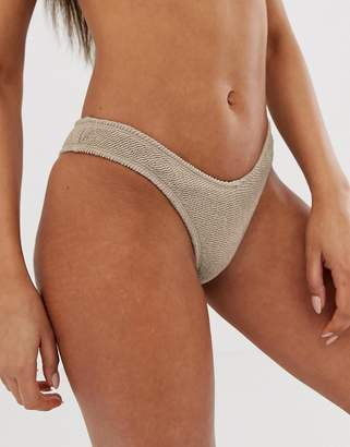 Free Society mix & match crinkle high leg bikini bottom in taupe
