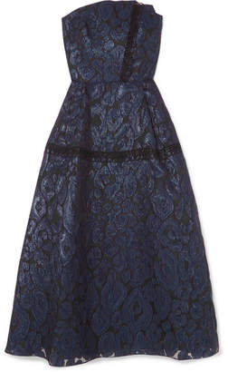 Roland Mouret Lydney Lace-trimmed Fil Coupé Organza Dress - Navy