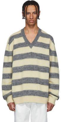 Lanvin Grey and Yellow Striped Wool and Alpaca V-Neck Sweater