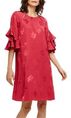 Phase Eight Dena Jacquard Dress, Bright Lipstick