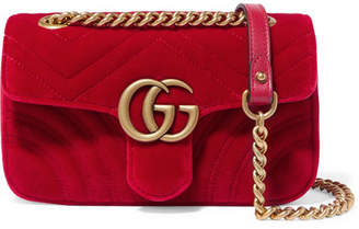 Gucci Gg Marmont Mini Quilted Velvet Shoulder Bag - Red