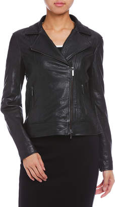 Armani Exchange シープレザー ライダースジャケット ブラック xs