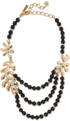 Oscar de la Renta - Sea Tangle Gold-plated, Jet And Swarovski Crystal Necklace - Black $690 thestylecure.com