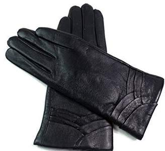 EMPORIUM LEATHER The Leather Emporium Women's Fur Lined Gloves Overlap Detail Winter Warm