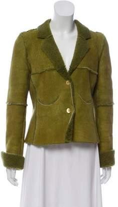 Chanel Shearling Notch-Lapel Jacket