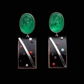 Lulu Frost Fine Vintage Medium Post Drop Earring - Scarab Buckle