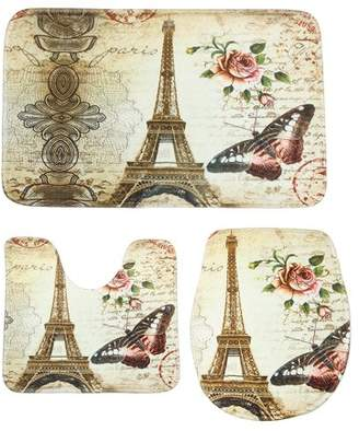 Kadell 3Pcs/Set Paris Eiffel Tower Pattern Anti-Slip Bathroom Pedestal Rug + Toilet Lid Cover + Floor Mat Bath Mat Set