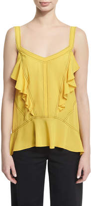 Derek Lam Ruffled Silk Georgette Camisole with Contrast Stitching, Yellow