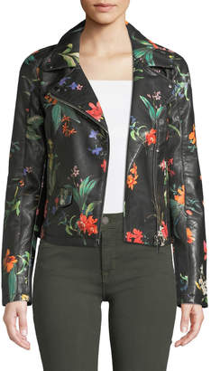 P. Luca Floral-Painted Faux-Leather Bomber Jacket