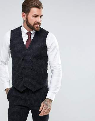 Asos DESIGN Slim Suit Vest in 100% Wool Harris Tweed Herringbone In Charcoal