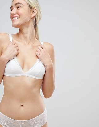 Monki triangle lace bra in white