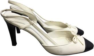 Chanel Slingback White Leather Heels