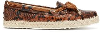 Tod's Python Effect Leather Espadrille Loafers - Womens - Brown Multi